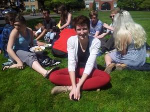 Freshman Sammy van den Berg enjoys some sun on campus.