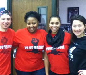 Andriana Alexis and fellow students at the MLK day of service. Photo from University of Portland