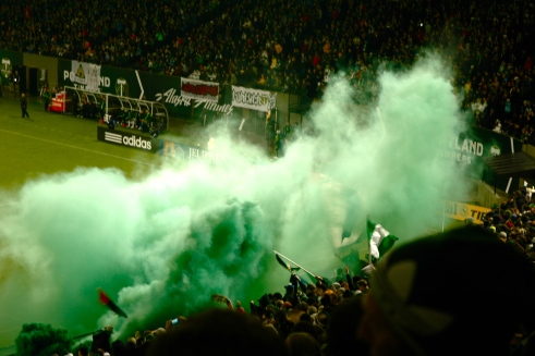 Portland Timbers fans are notoriously spirited. Photo by Enid Spitz