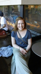 Taylor Tobin at UP's Commons fireplace. Photo by PJ Marcello